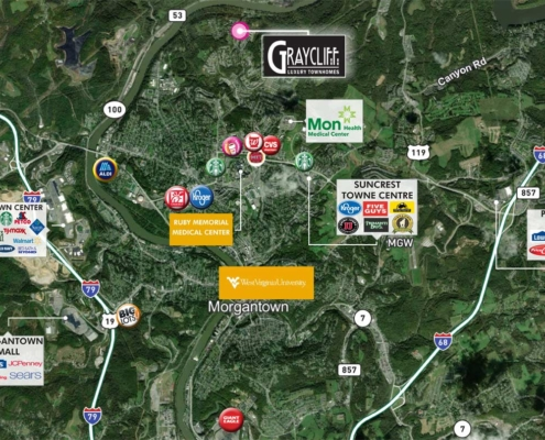 Surrounding Points of Interest near GrayCliff Luxury Townhomes